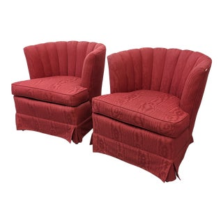 1960s Hollywood Regency Channel Tufted Barrel Back Chairs - a Pair For Sale