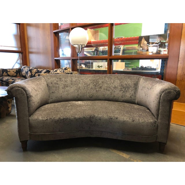 1930s Vintage Jazz Age Reupholstered Art Deco Kidney Shaped Sofa For Sale - Image 11 of 11