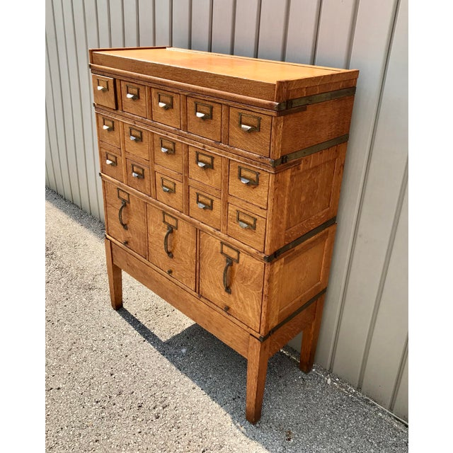 Art Deco Antique Globe-Wernicke Arts and Crafts Era Tiger Oak Library Card Catalog Filing Cabinet For Sale - Image 3 of 13