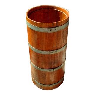Vintage Rustic Farmhouse Oak Butter Churn Barrel Base For Sale