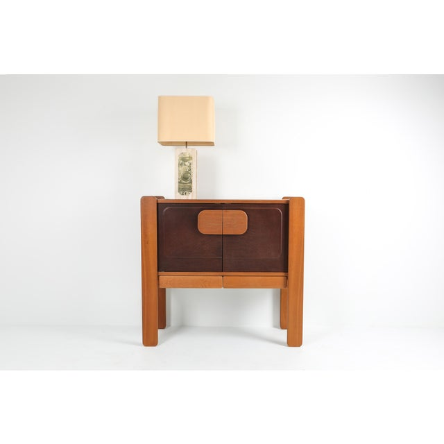 Walnut and Leather Postmodern Cabinet For Sale - Image 6 of 8