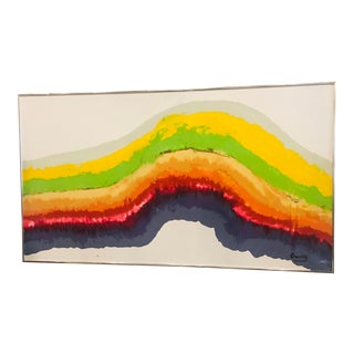 1960's Mid Century Modern Rainbow Signed Abstract Canvas Painting by Gurrey For Sale