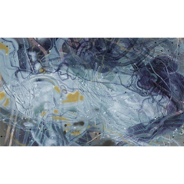 """Dana Oldfather """"Slate Bed 2"""" Colorful Abstract Painting on Paper For Sale"""