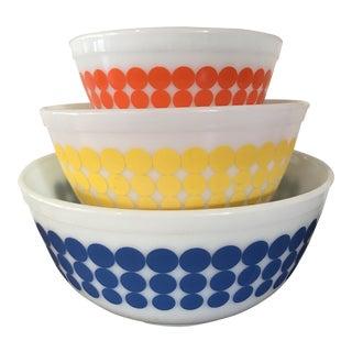 Vintage Pyrex Multicolor Dots Glass Mixing Bowls - Set of 3