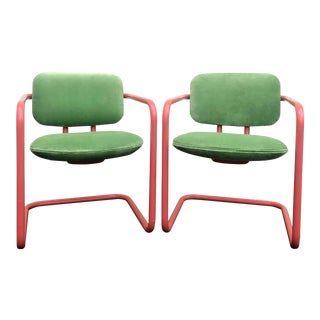 Post Modern Metropolitan Furniture Coral Lacquer Armchairs in New Spring Green Velvet - a Pair For Sale