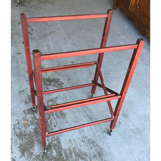 1950's Vintage Portable Bar Server Collapsible Rolling Bar Cart For Sale In Chicago - Image 6 of 11