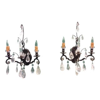 Rock Crystal Wall Sconces - A Pair For Sale