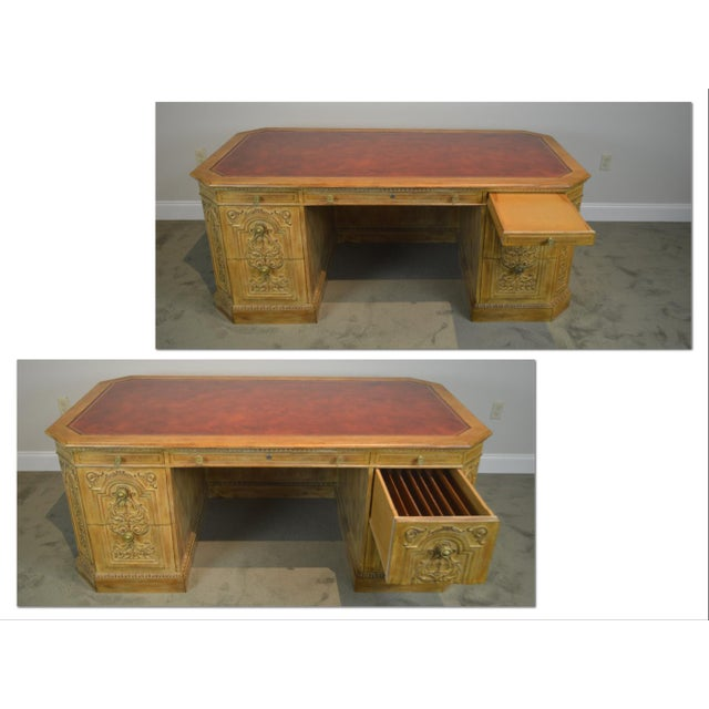 *STORE ITEM #: 18535 French Rococo Style Custom Quality Carved Executive Desk AGE / ORIGIN: Approx. 50 years, America...