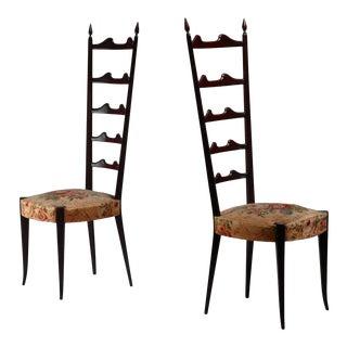 Paolo Buffa Pair of Mahogany Chiavari Chairs, Italy, 1950s For Sale