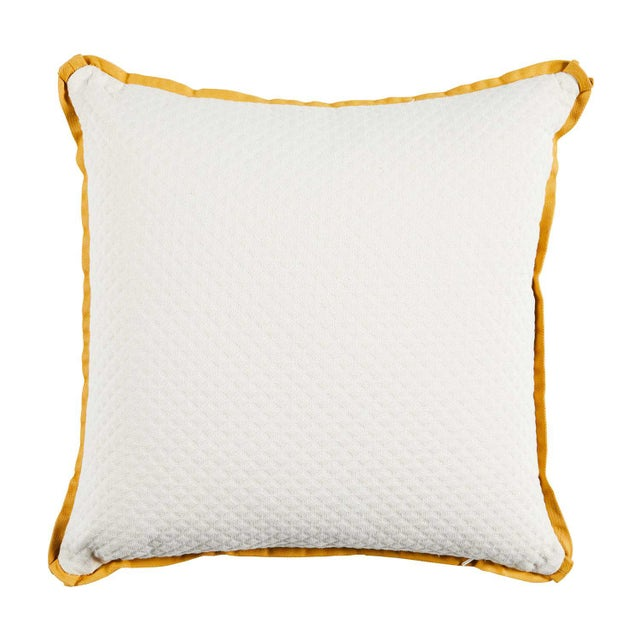 """Transitional Summer Classics Pair of Indoor/Outdoor Gingham Stripe Pillows in Mustard, 24""""x 24"""" For Sale - Image 3 of 4"""