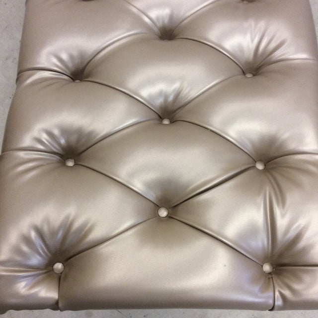 Animal Skin Monumental Leather Tufted Lucite Bench For Sale - Image 7 of 11