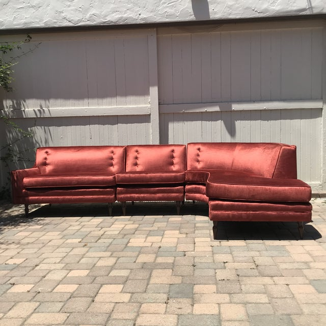 Incredible Beautiful Burnt Sienna Custom Upholstered Sectional Sofa attributed to Harvey Probber. Completely restored in...