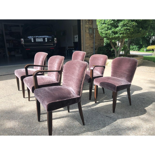 1930s 1930s Vintage Macassar and Mohair Dining Chairs - Set of 6 For Sale - Image 5 of 11