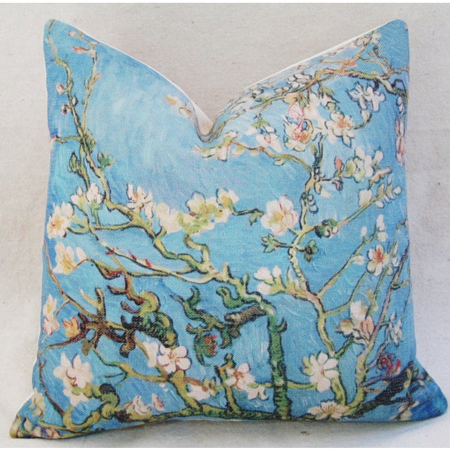 """Chic Van Gogh Inspired Cherry Blossom Linen Feather/Down Accent Pillow 17"""" - Image 2 of 6"""