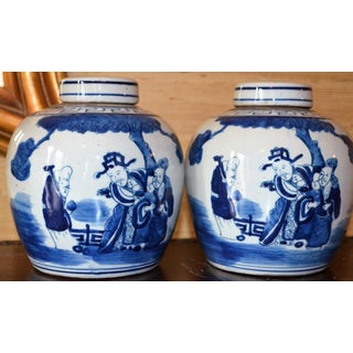 Chinoiserie Ginger Jars With Deities - a Pair Preview