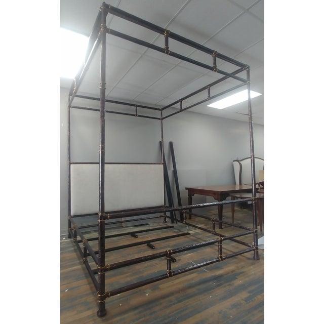 Hollywood Regency Henredon Furniture Jeffrey Bilhuber Hammered Metal Bank St Queen Canopy Bed For Sale - Image 3 of 12