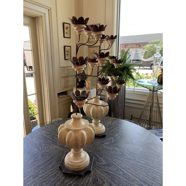 Italian Shabby Wood and Iron Candelabrums For Sale - Image 4 of 7