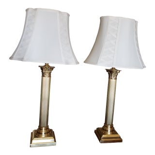 Remington Polished Solid Brass Candlestick Table Lamps - a Pair For Sale