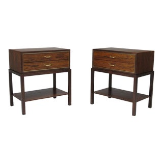 Ernst Kühn for Lysberg Hansen & Therp Rosewood and Brass Nightstands For Sale