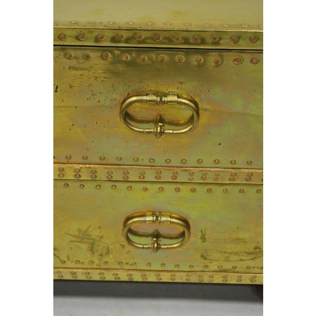 Vintage Sarreid Two Drawer Brass Studded Campaign Style Low Chest of Drawers For Sale - Image 9 of 13