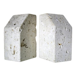 Modernist Sculptural Travertine Bookends, a Pair For Sale
