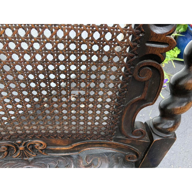 Brown 20th Century Jacobean Style Caned Chaise Lounge For Sale - Image 8 of 10