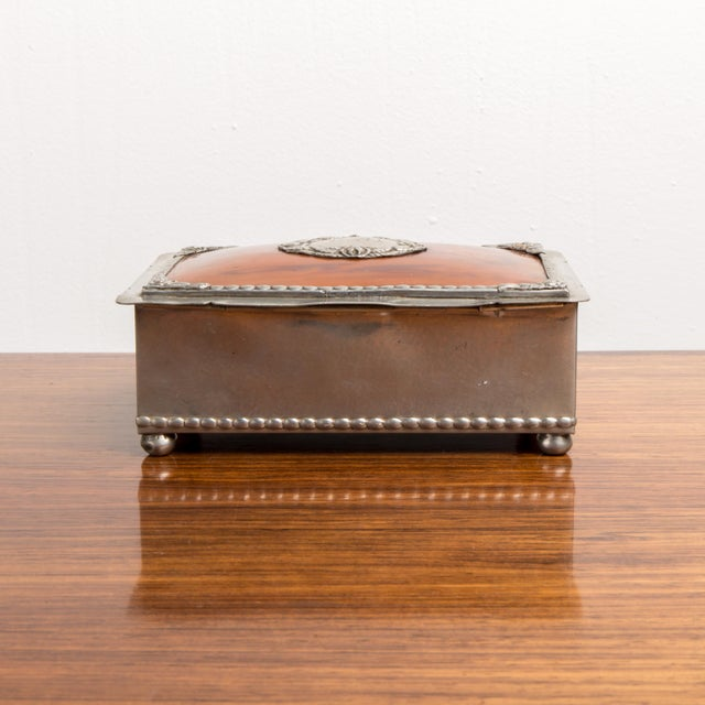 1940s Danish Modern Jewelry Box With Balled Feet For Sale - Image 4 of 8