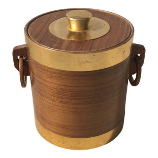 1960s Mid-Century Modern Wood and Metal Ice Bucket For Sale