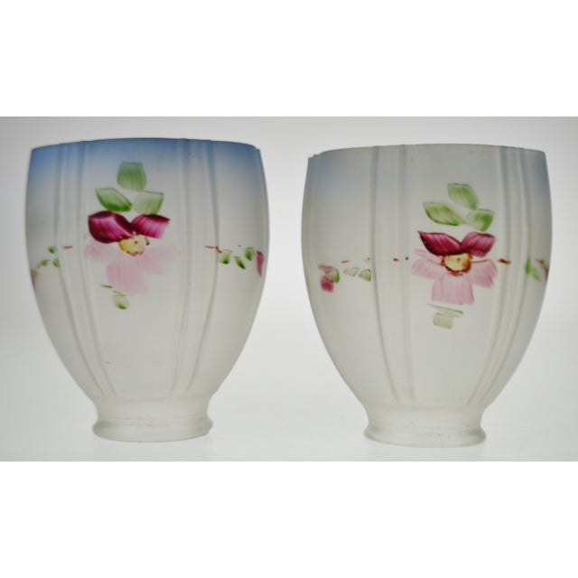 Victorian Victorian Handpainted Frosted Glass Light Shades - a Pair For Sale - Image 3 of 12
