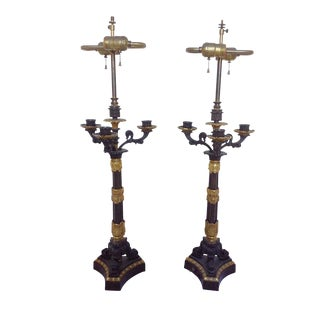 Antique Empire Style Bronze Candelabra Lamps - A Pair For Sale