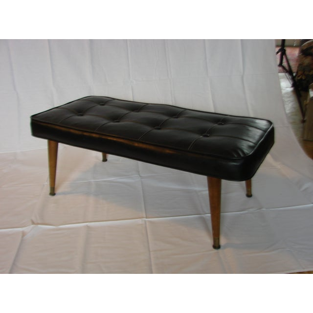 Black Tufted Leather Bench - Image 2 of 5