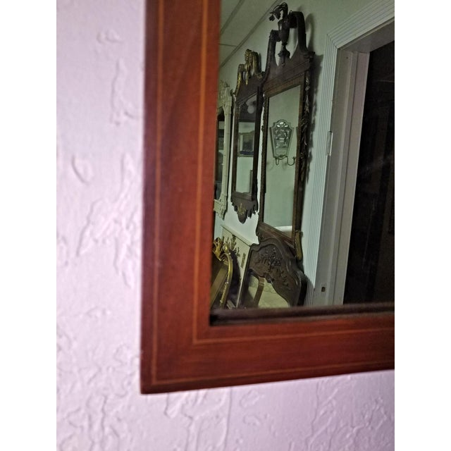 Neoclassical Line Inlaid Arched Neoclassical Mahogany Wall Mirror For Sale - Image 3 of 8