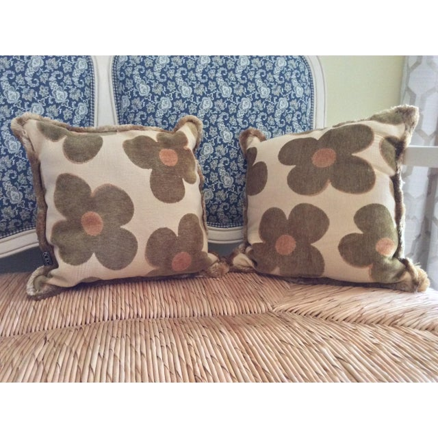 Mid-Century Modern 1980s Vintage Borgata Crazy Flower Pillows - a Pair For Sale - Image 3 of 11