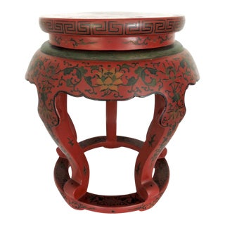 Antique Chinese Red Lacquer Courtesans & Lotus Stool, Side Table or Pedestal For Sale
