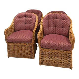 Vintage Rattan Wicker Dining Armchairs - Set of 4