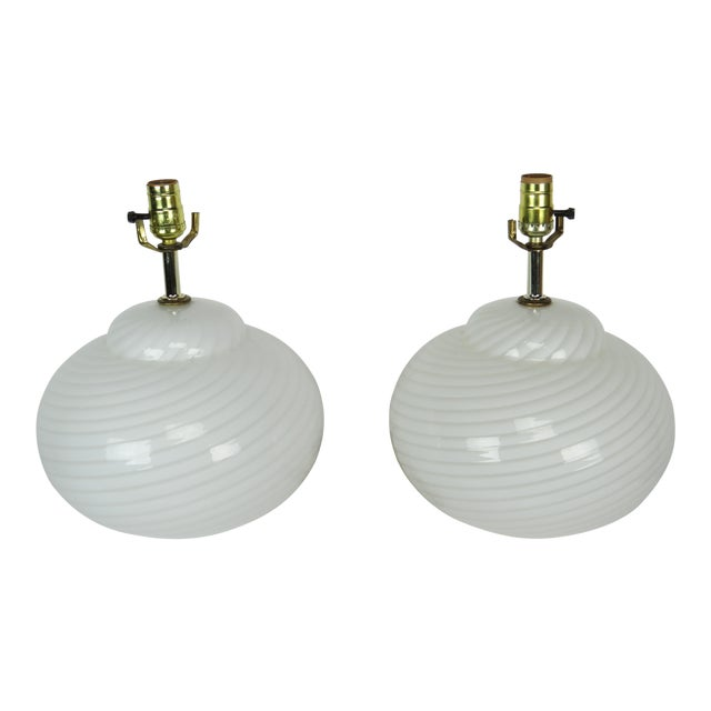 Mid-Century Modern Murano Glass Swirl Lamps - a Pair For Sale