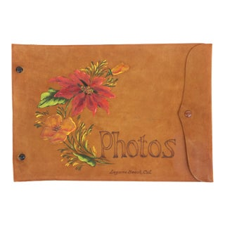 California Wildflower Suede Leather Photo Album For Sale