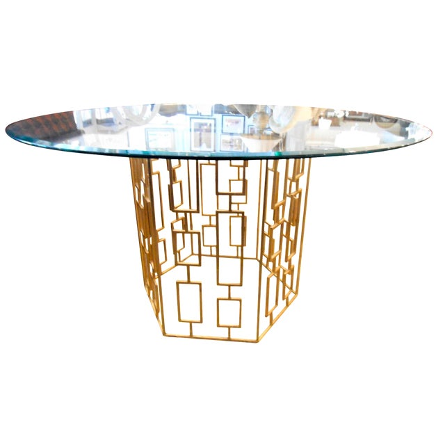 Round Glass Dining Table With Gold Lattice Base Chairish - Round lattice coffee table