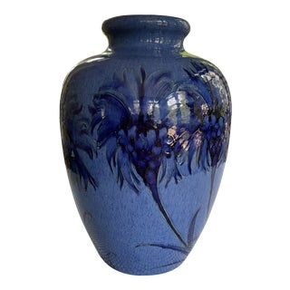 1928 Moorcroft Cornflower Blue Art Deco Signed and Dated Large Table Vase For Sale
