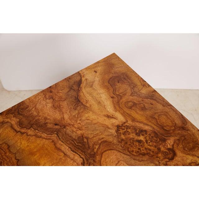 Midcentury Burled Wood Laminate Cube For Sale - Image 11 of 13