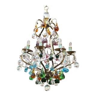 1950s Italian Mid Century Modern Murano Glass Fruit Chandelier For Sale