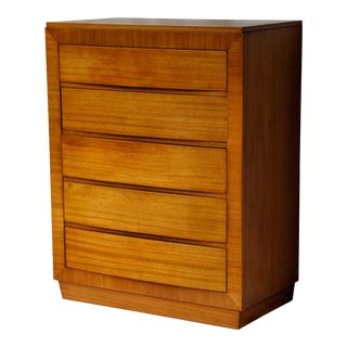 1950s RWay Blonde Mahogany Art Deco 5-Drawer Dresser For Sale