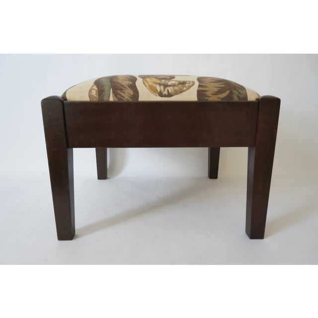 Contemporary Mid-Century Footstool Low Bench Mahogany With Palm Frond Motif Upholstery For Sale - Image 3 of 12