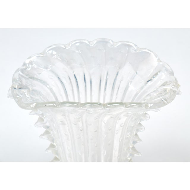 """Glass Crystal Clear Murano """"Pulegoso"""" Glass Vase For Sale - Image 7 of 9"""