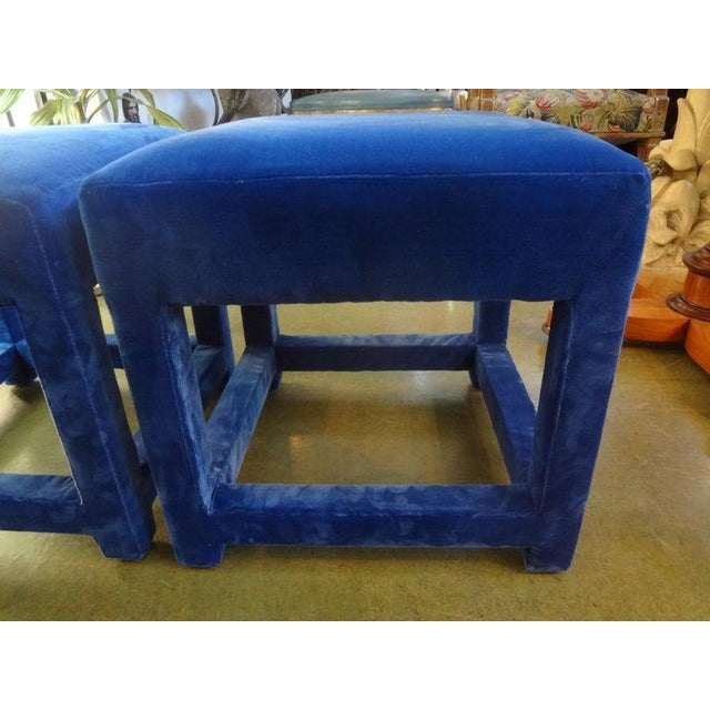 Blue Vintage Milo Baughman Parsons Ottomans-A Pair For Sale - Image 8 of 12