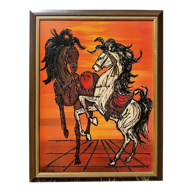 Original Turner Wall Accessory Lee Burr Carousel Horse Painting For Sale