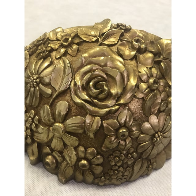 Syroco Vintage 1970's Syroco Inc. Gold Plastic Floral Detail Wall Pocket / Basin For Sale - Image 4 of 7