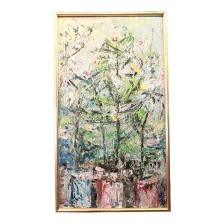 Vintage Mid-Century Kenneth Forman Abstract Forest Scene Painting For Sale
