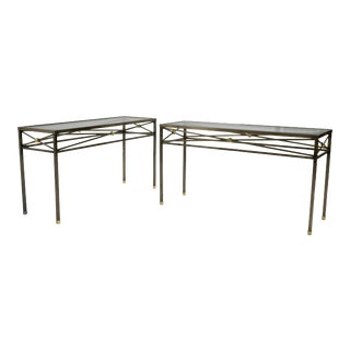 Gunmetal Console Tables With Glass Tops - a Pair For Sale
