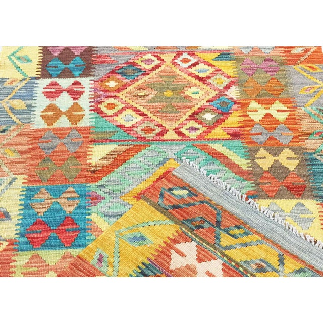 "Afghan Nalbandian - Contemporary Afghan Kilim Runner - 2'9"" X 12'7"" For Sale - Image 3 of 4"